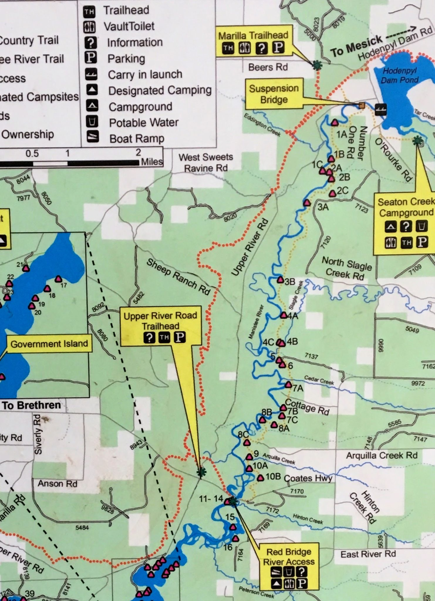 Map of Designated Campgrounds - Manistee River Trail