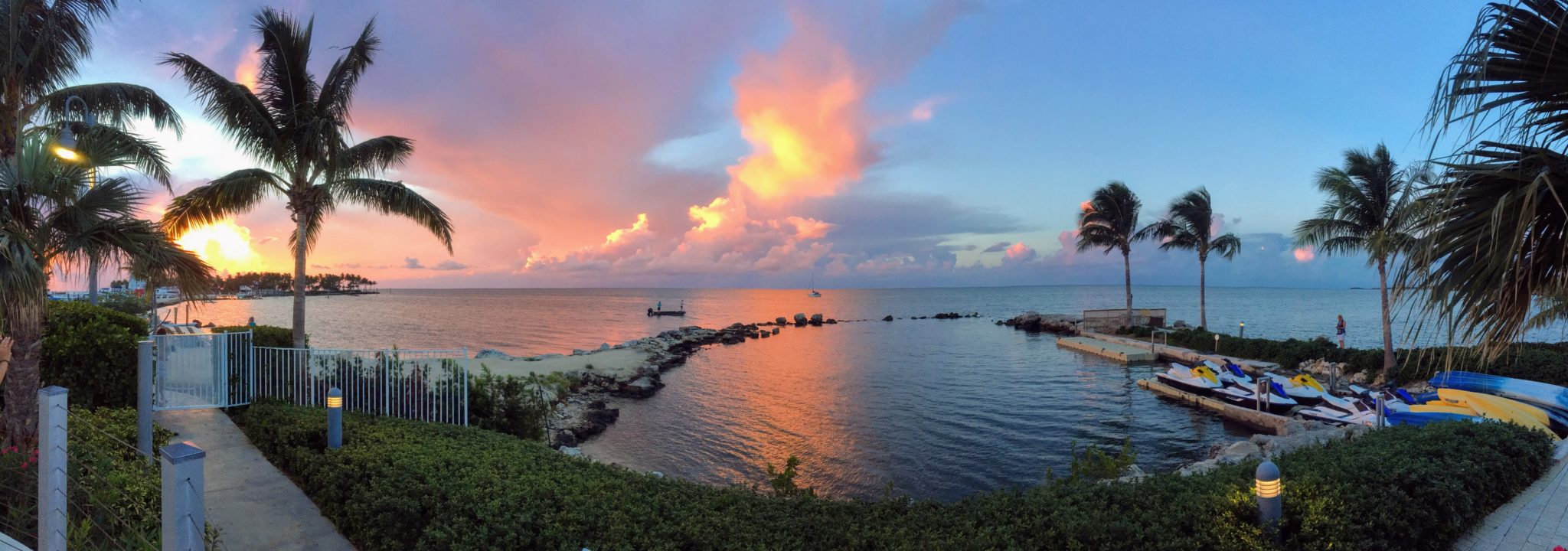 Panoramic sunset of palms and ocean from the Courtyard by Marriott in Marathon Key, Florida.