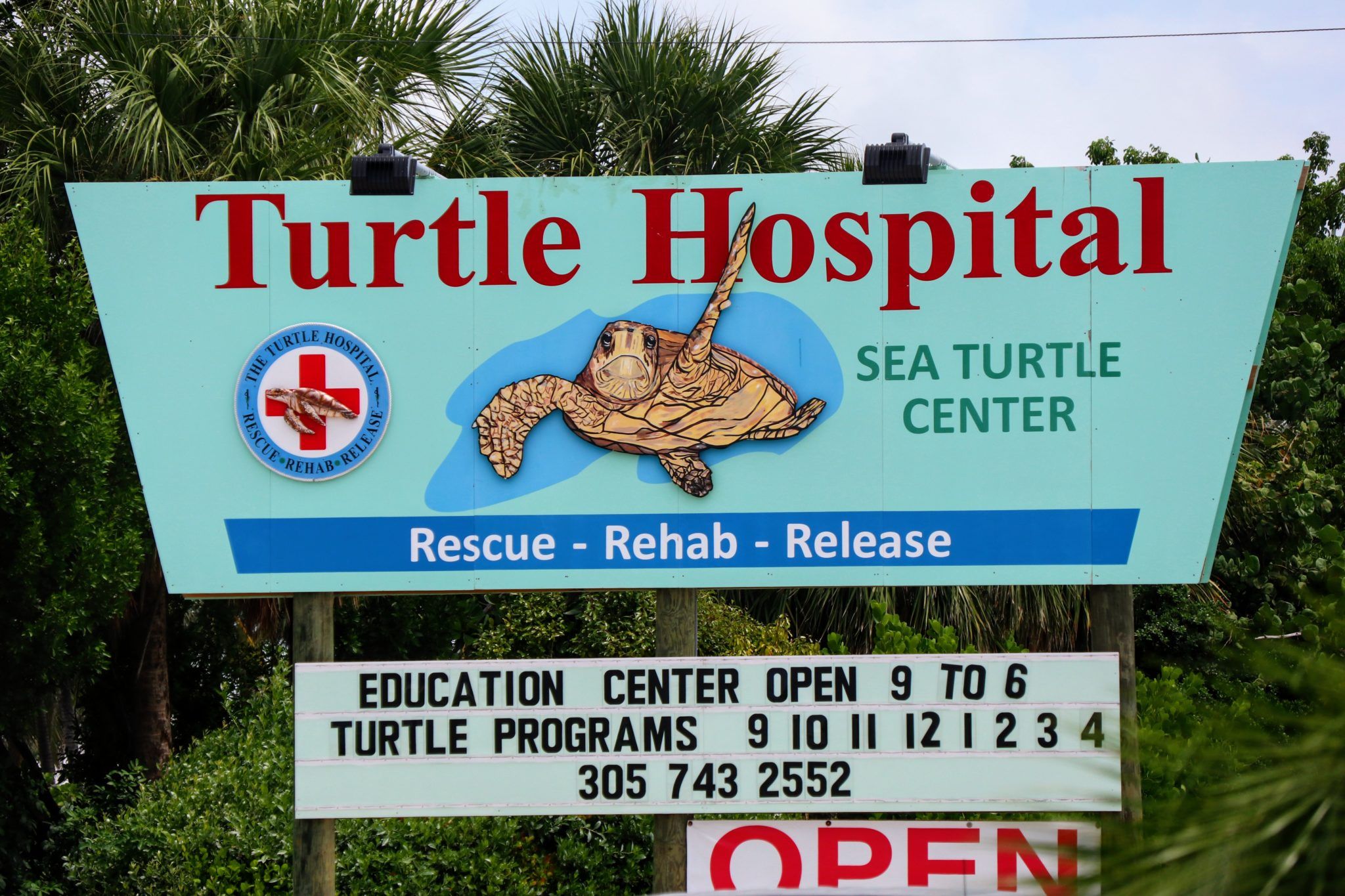 The Turtle Hospital sign with hours of operation.