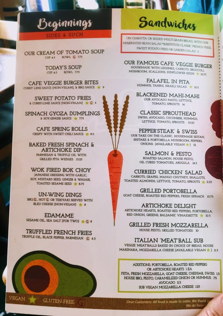 The Cafe's colorful vegetarian and vegan menu of sides and sandwiches
